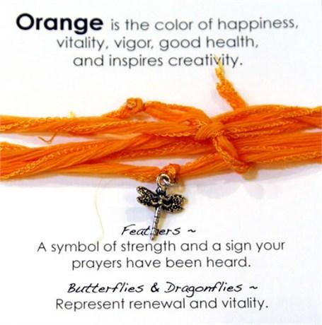 Bracelet - Dragonfly Orange Silk Wrap