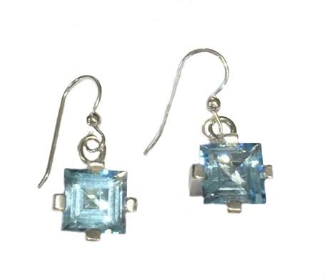 Earrings - Sterling Silver Square Dangles Blue Topaz  E-916