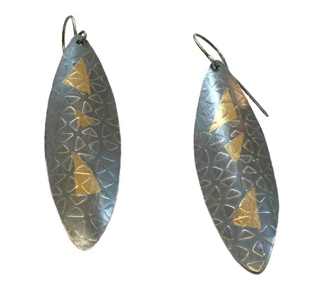 Earrings - Sterling Silver Oxidized & 24k Gold Bonded to Silver  RBT-4