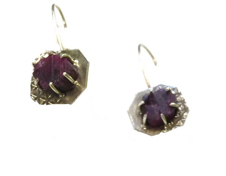 Earrings - Silver Dangle with Raw Ruby Prong 1a