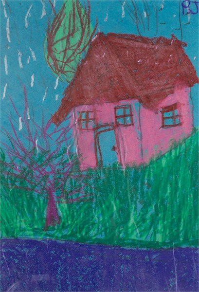 Small Pink House (FRAMED)