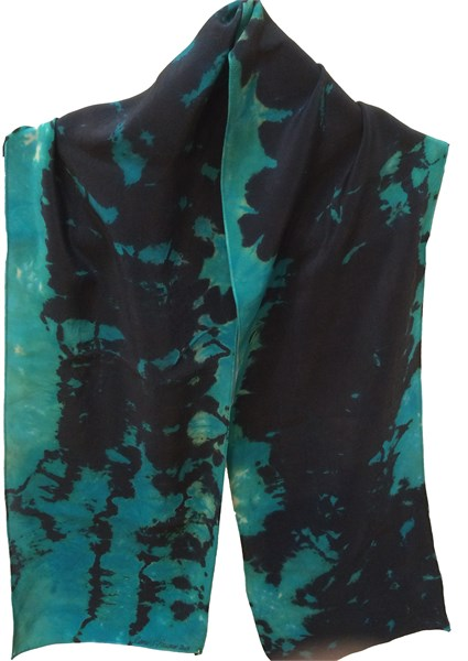 Sacarf-Turquoise Reverse Shibori Crepe#113