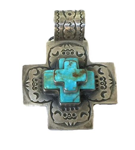 Pendant - Silver & Turquoise Triple Stack