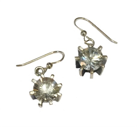 Earrings - Sterling Silver Square Dangles Clear Quartz  E-764