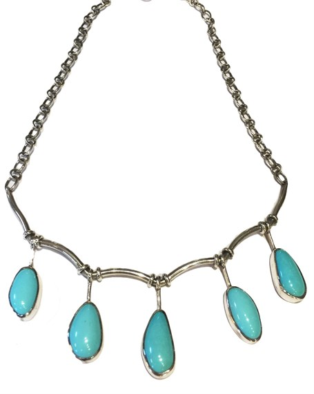 Necklace - Lace Style - Sterling Silver & Turquoise