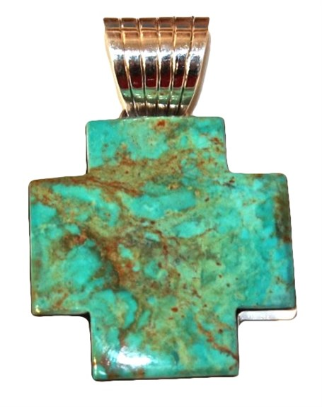 Pendant - Sterling Silver Turquoise Cross   1594