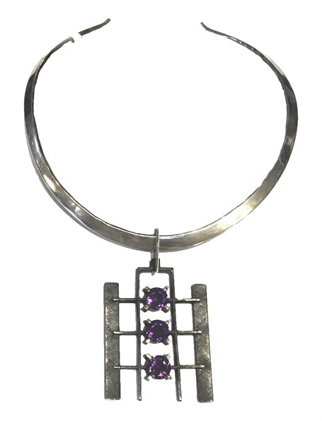 Necklace - Satellite - Sterling Silver & Amethyst - Pe-667