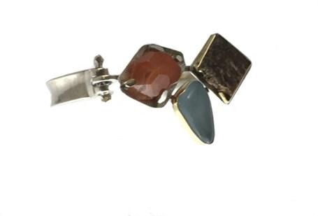Bracelet - Set Stone Carnelian, Aquamarine and Picture Jasper