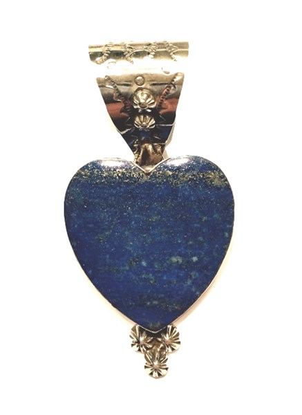 Pendant - Lapis Heart with Silver Beading