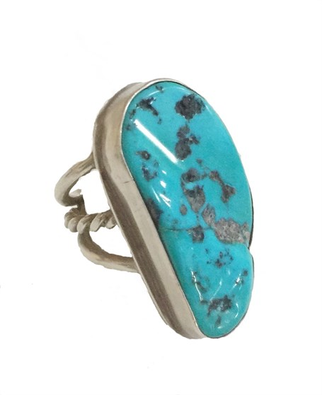 Ring - Sterling Silver & Set With Sleeping Beauty Turquoise DD116