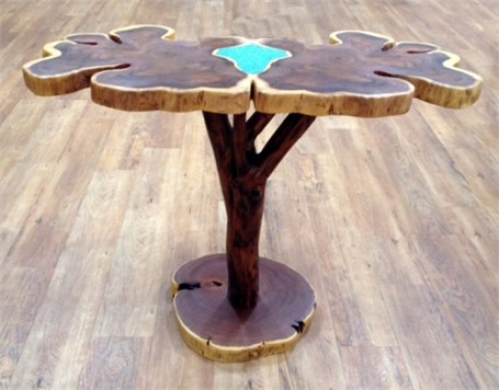 Mesquite Butterfly Table with Turquoise Inlay