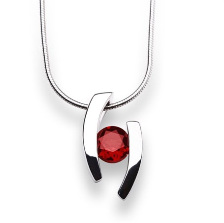 Pendant-Floating Garnet and Sterling Silver