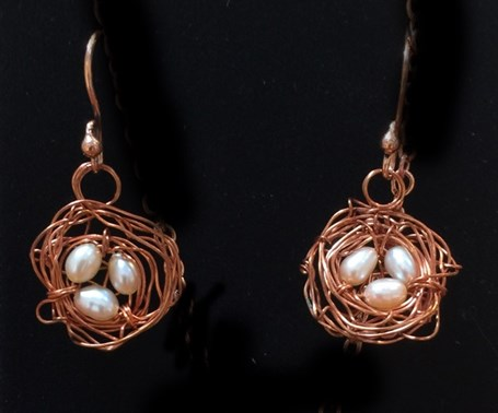 Earrings - Nest With Fresh Water Pearls- Assorted