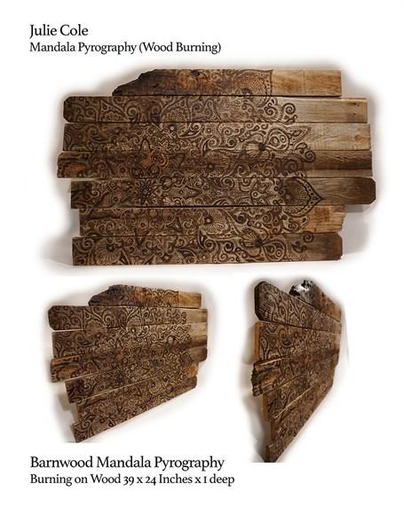 Mandala Pyrography on Barnwood