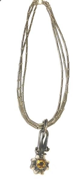 Necklace - Sun Flower - Sterling Silver & Caracas
