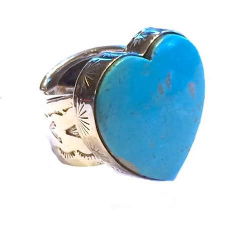 Ring - Clean Line Turquoise Heart Adj.