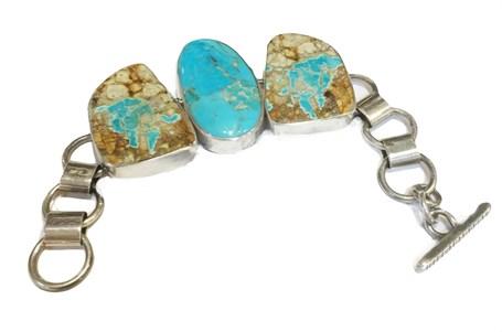 Bracelet - Handmade Silver Links, Boulder & Sonoran Turquoise - DD-102