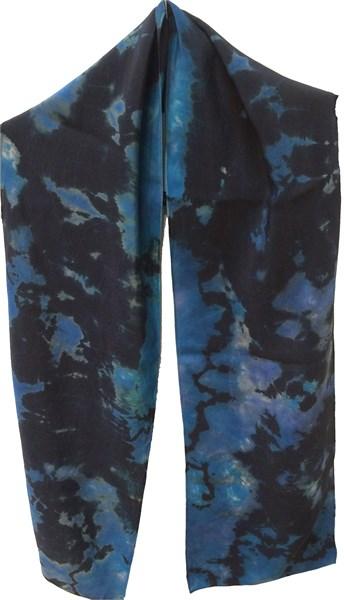Scarf-Blue Reverse Shibori Crepe #112