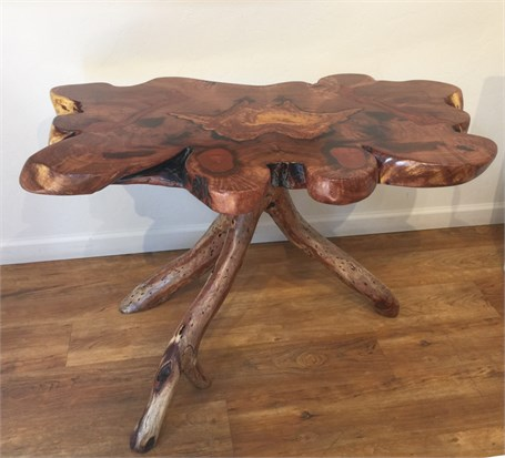 Mesquite Table with Copper Inlay and Mesquite Base