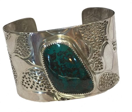 Bracelet -  Sterling Silver Cuff - Textured & Cryscolla Stone -DD-101