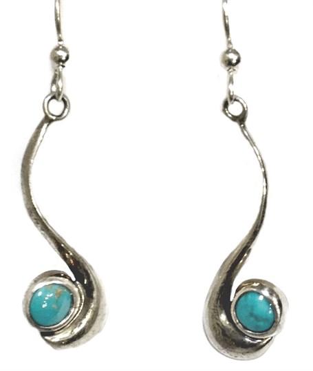 Earrings - Sterling Silver French Dyer Blue Dots E-872