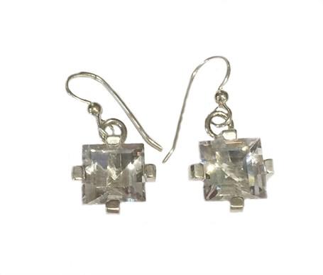 Earrings - Sterling Silver Square Dangles Clear Quartz E-915