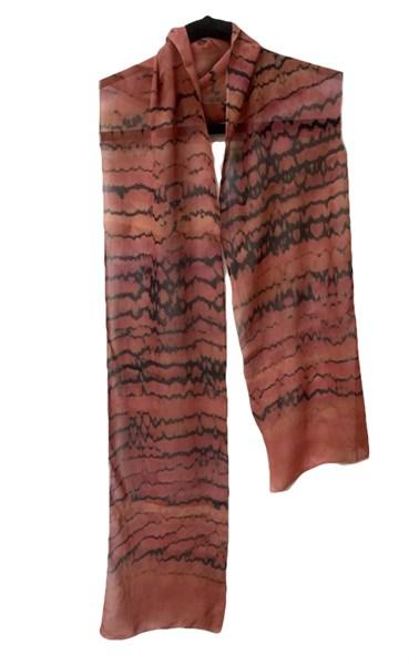 Scarf - Rust Reverse Shibori Crepe #119