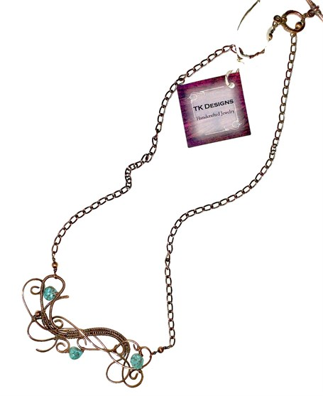 Necklace - Handwoven Antiqued Copper Pendant With Sleeping Beauty Turquoise