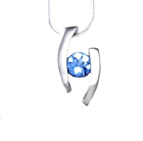 Pendant - Blue Topaz, .925 silver - Floating