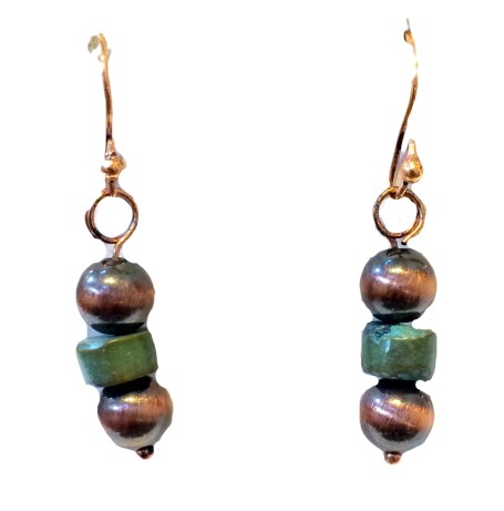 Earrings-Antique Copper Finish Beads with Rough Cut Turquoise