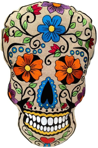 Calavera - Skull Pillow with Turquoise Flower