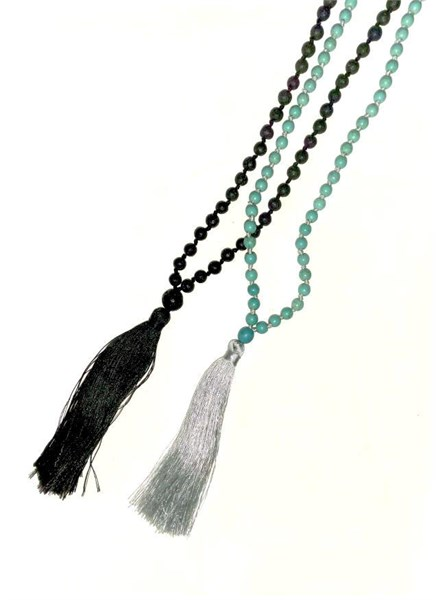 Necklace - Stone with Silk Tassel Assorted