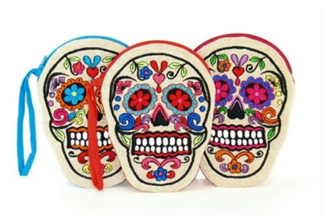 Embroidered on Linen Sugar Skull Coin Purse - Assorted Colors