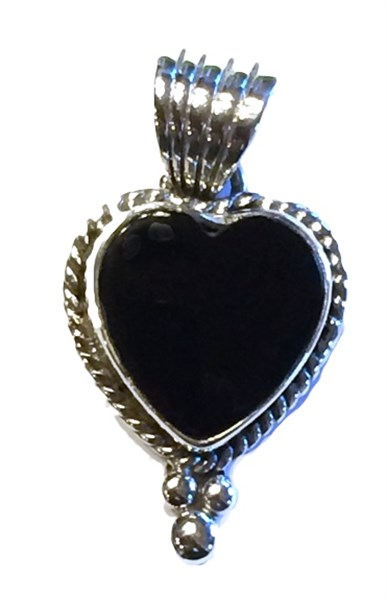 Pendant - Small Onyx Heart w/Sterling Silver