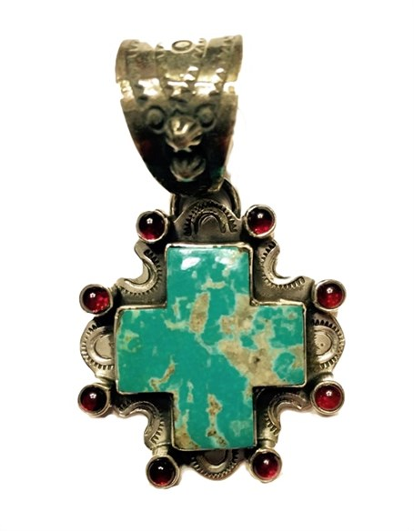 Pendant - Turquoise Square Cross with Garnet Surround
