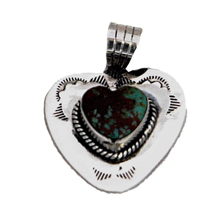 Pendant - Sterling Silver Heart & Turquoise 1585