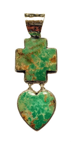 Pendant - Turquoise Cross & Heart with Sterling Silver