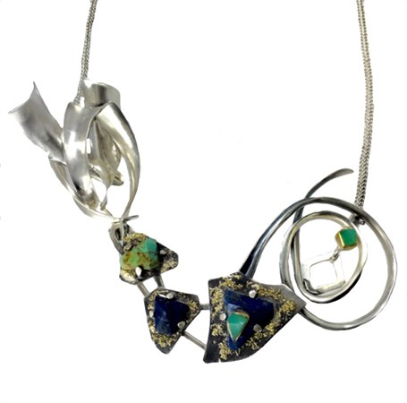 Necklace - Set Stone with Lapis, Turquoise, 22k Gold and Sterling Silver