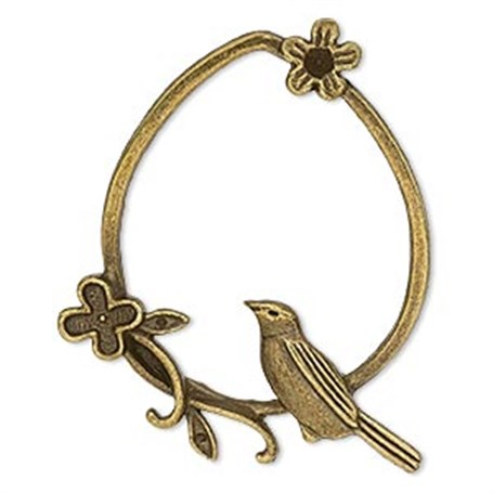 Necklace - Bird and Flower on Teardrop in Antique Gold