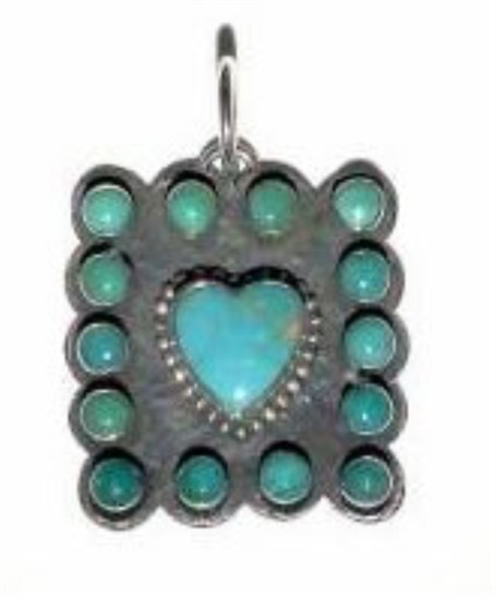 Pendant - Sterling Silver & Turquoise Heart DD 134