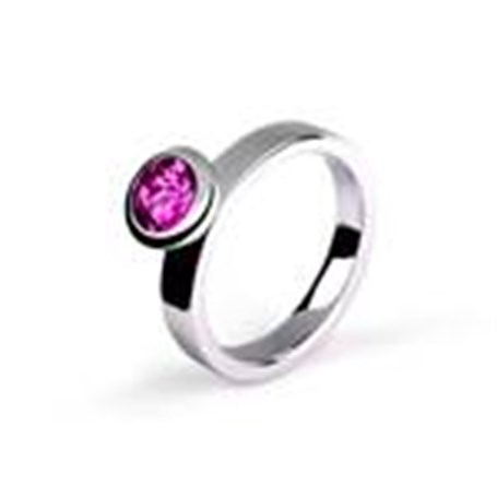Ring-Bezel Set Sterling Silver and Amethyst / size 7
