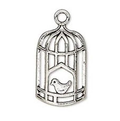 Necklace - Silver Tone Bird in Cage