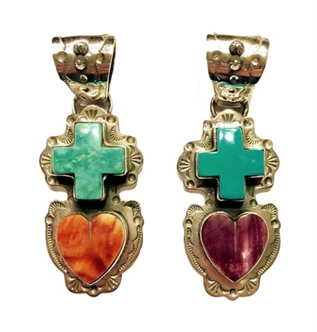 Pendant - Turquoise & Spiny Oyster Heart & Cross