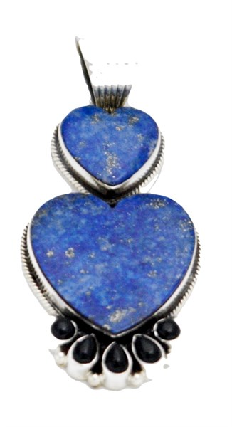 Pendant - Sterling Silver & Double Lapis Hearts  DD444