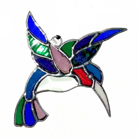 Stained Glass Ruby Throated Hummingbird with Prism