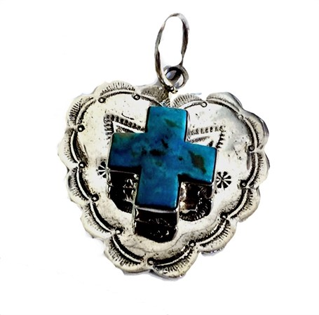 Pendant - Stamped Sterling Silver w/Turquoise Cross
