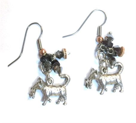 Earring - Vintage Silver with Cat Theme