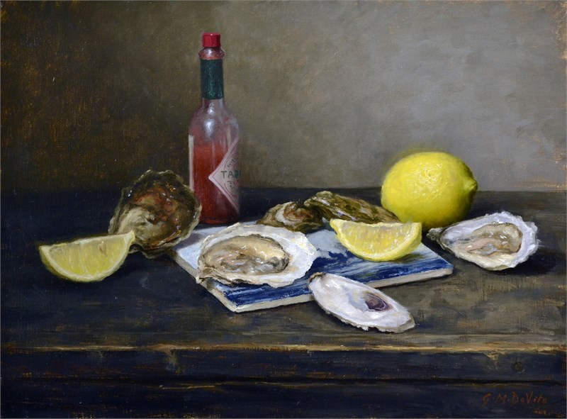 Oysters on Delft Tile