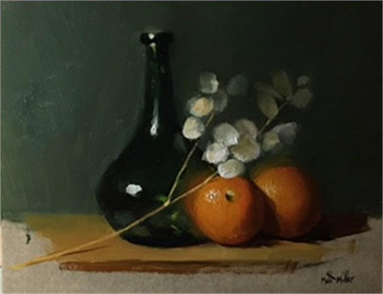 Oranges with Green Vase