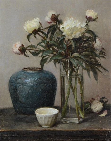 White Peonies and Green Vase